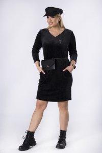 welurowa sukienka z aplikacją na biuście