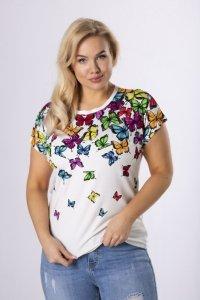 t-shirt w kolorowe motyle