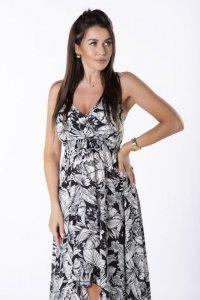asymetyczna sukienka maxi na ramiączkach
