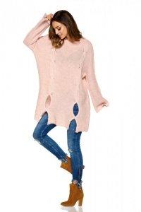 Moherowy sweter z wycięciami LS220