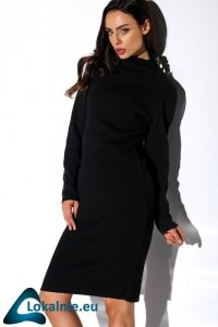 Sukienka swetrowa z guziczkami i golfem LS271