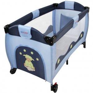 Łóżeczko dla dziecka podróżne, ciemnoniebiesko-szare