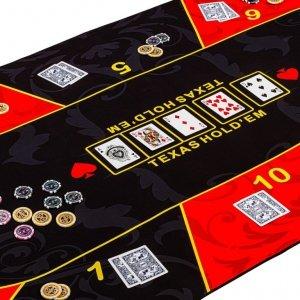 Składana mata do pokera, czerwono-czarna, 160 x 80 cm