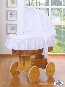 Kosz Mojżesza z budą- Dobranoc naturalny + biała pościel z haftem