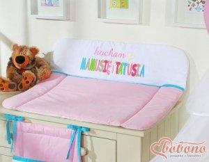 Przewijak miękki na komodę- Kocham różowo-turkusowe haft (PL)