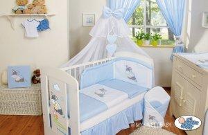 Pościel 5-cz z moskitierą- Osiołek Lucek niebieski
