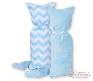 Kot przytulanka dwustronna - Simple zygzaki niebieski