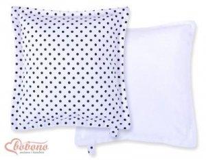 Poduszka dwustronna- Czarne grochy na białym tle