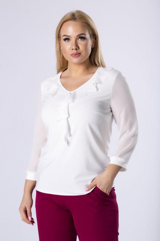 bluzka z falbankami i szyfonowymi rękawami