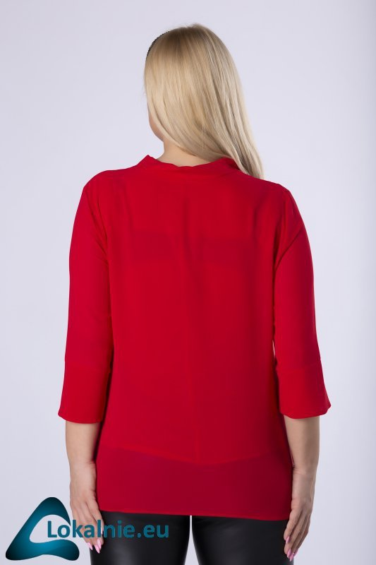 szyfonowa bluzka z wiązaniem przy szyi