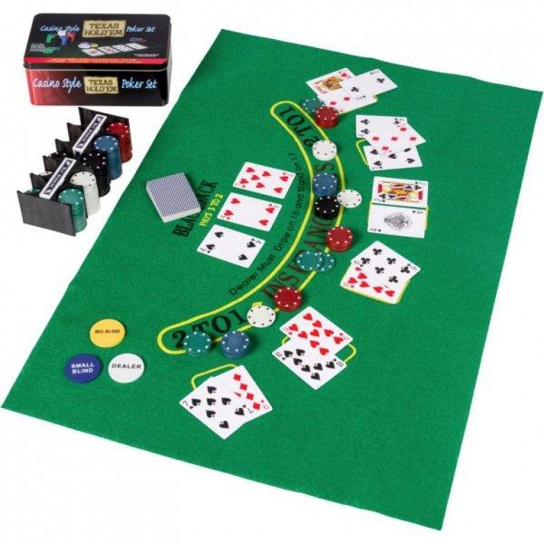 Zestaw pokerowy 200 szt. w puszce