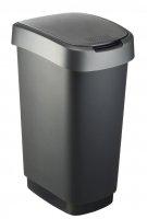 Kosz na śmieci TWIST 50L czarno/srebrny