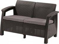 Meble ogrodowe sofa 2-osobowa CORFU antracyt/popiel