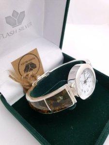 Zegarek ze srebra naturalny bursztyn kod 849