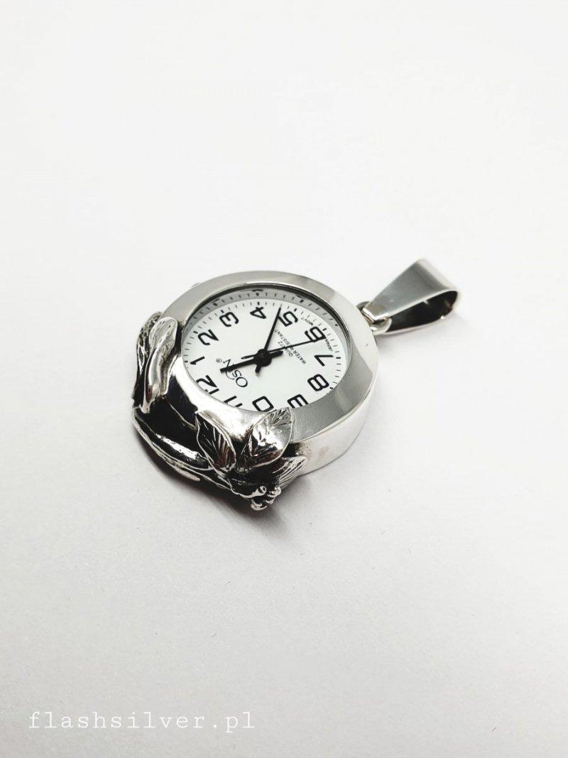 wiszący srebrny zegarek