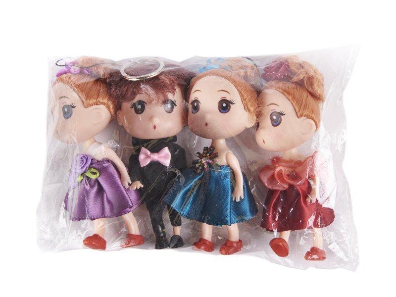 Lalki do domku dla lalek 3 dziewczynki + 1 chłopczyk zestaw 4szt. 12cm