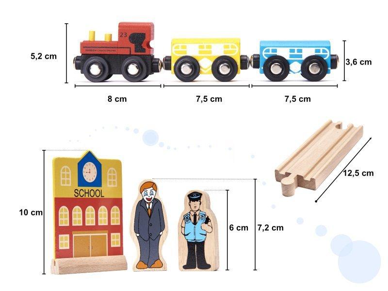 Kolejka drewniana pociąg tor samochodowy + 70el
