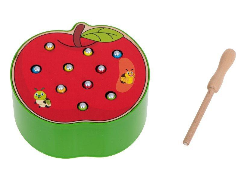 Gąsienica magnetyczna drewniana jabłko