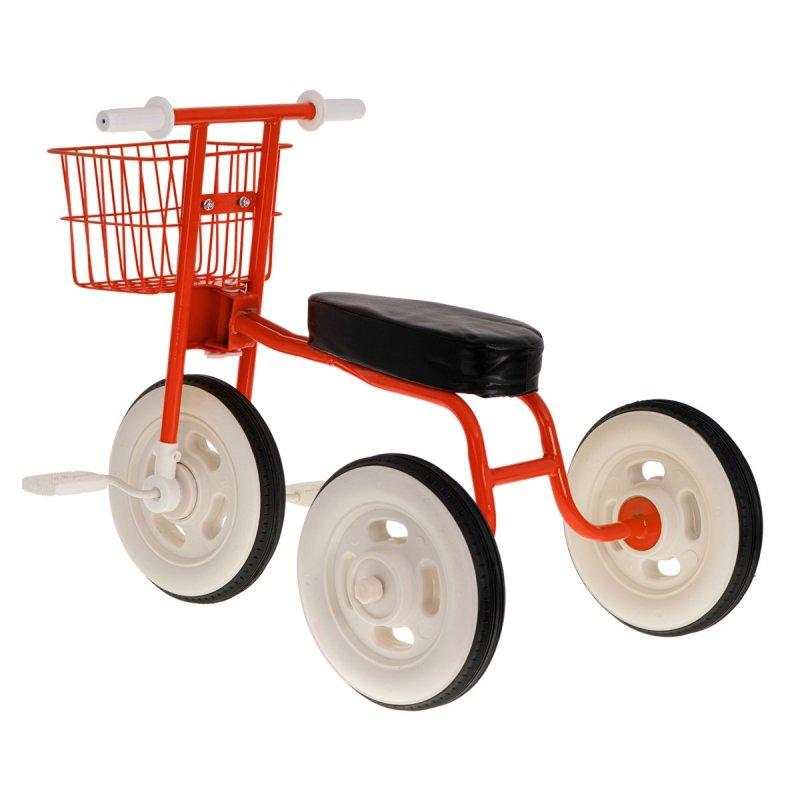 Rowerek trójkołowy retro z koszykiem czerwony