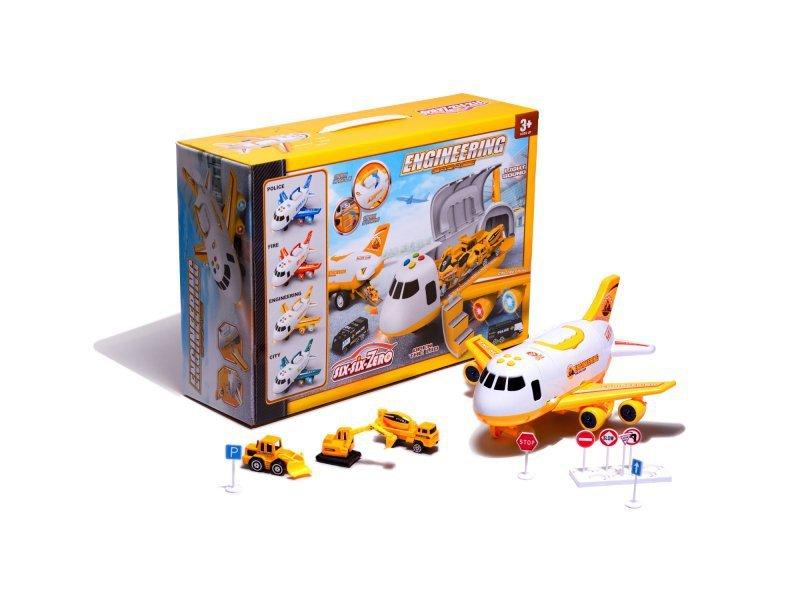 Samolot transporter z autami maszyny budowlane bok