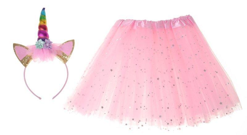 Kostium strój karnawałowy Jednorożec opaska+ spódniczka różowy 3-6lat
