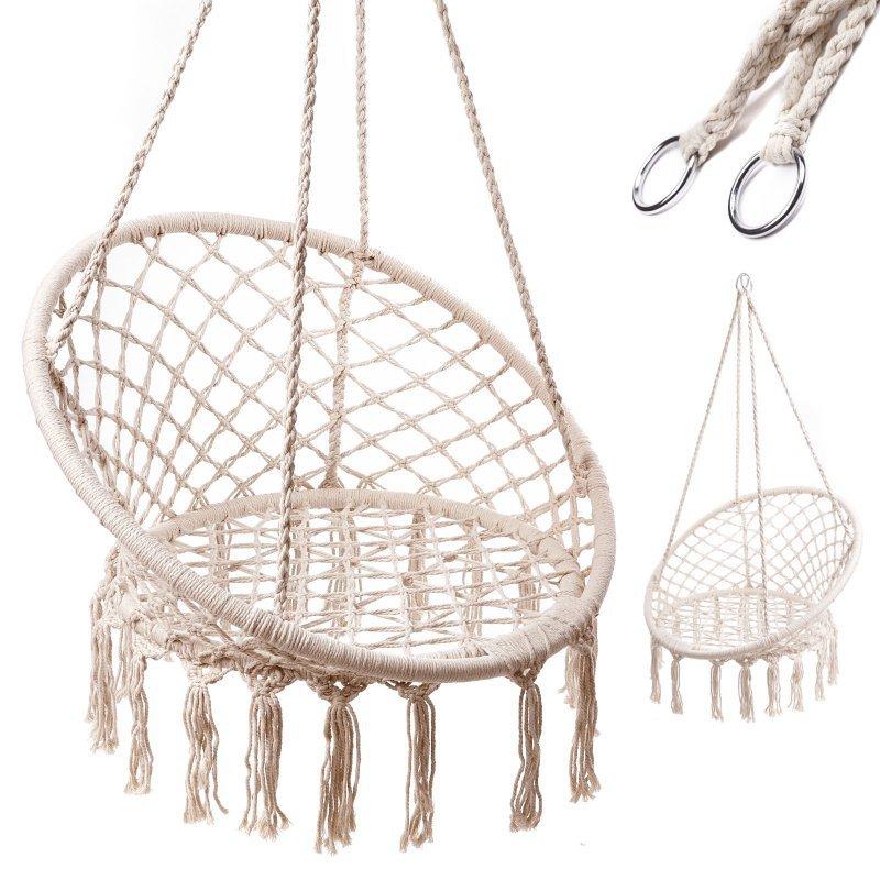 Huśtawka fotel bocianie gniazdo z oparciem ecru 80cm