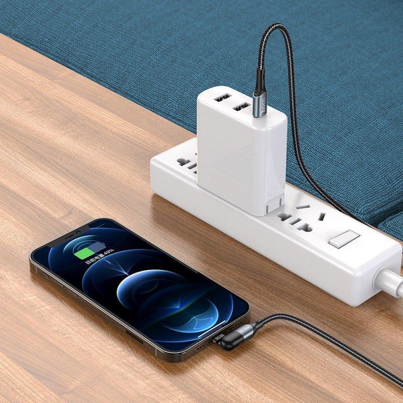 HOCO kabel Typ C do iPhone Lightning 8-pin Orbit Power Delivery Fast Charging 20W U100 czarny