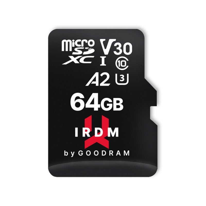 Karta Pamięci IRDM by GOODRAM 64GB microSD UHS I U3 V30 A2 170/120MB/s z adapterem SD