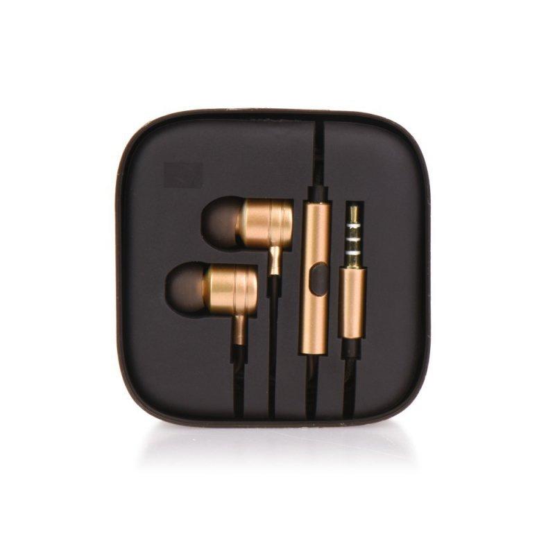 Zestaw HF / Słuchawki Stereo  box MI metal złoty (Jack 3,5mm)