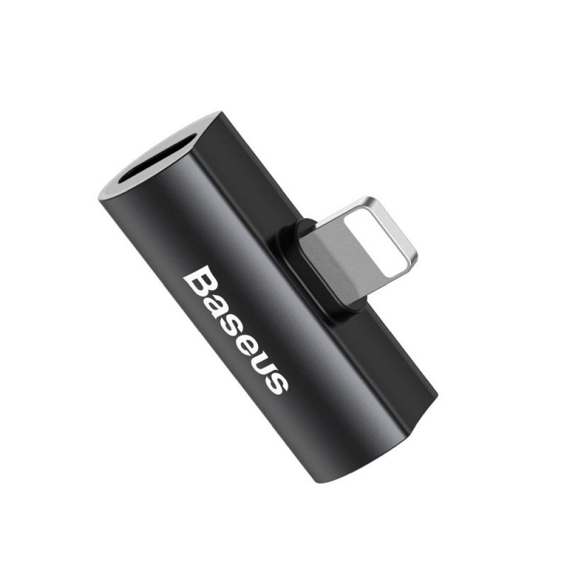 BASEUS adapter audio/HF z do iPhone Lightning 8-pin na 2x do iPhone Lightning 8-pin czarny CAL46-01