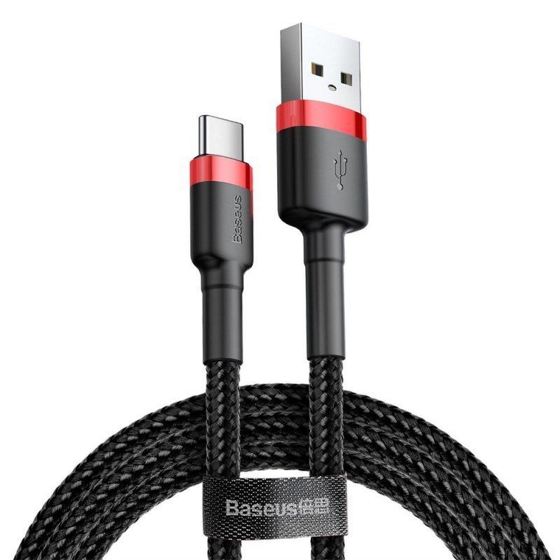BASEUS kabel USB Cafule Typ C 2A 3 metry czerwono-czerwony CATKLF-U09