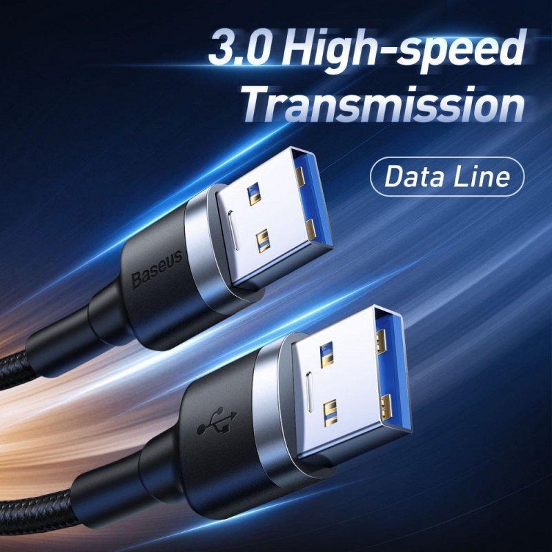 BASEUS kabel USB męski USB3.0 do USB 2A 1 metr czarno-szary CADKLF-C0G