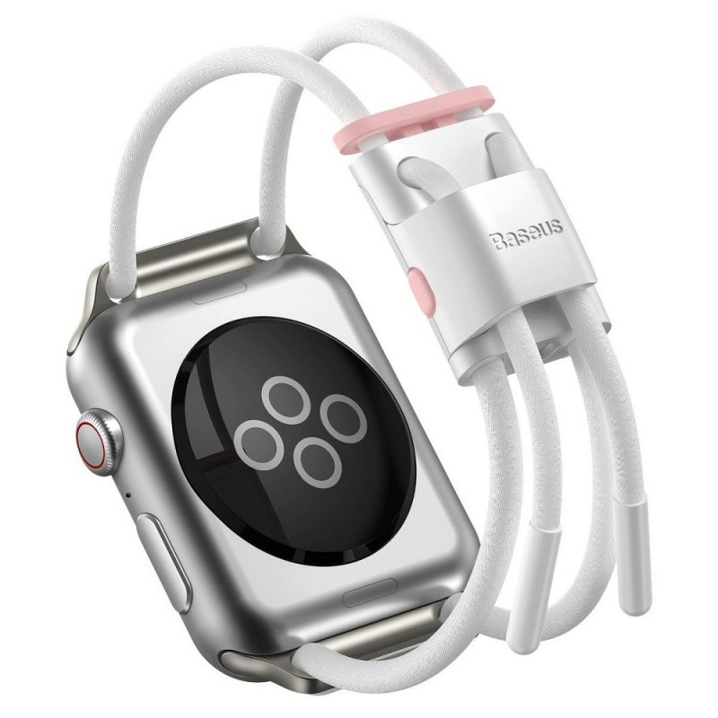 BASEUS pasek do Apple Watch 42mm / 44mm Let`s Go biało-różowy LBAPWA4-B24