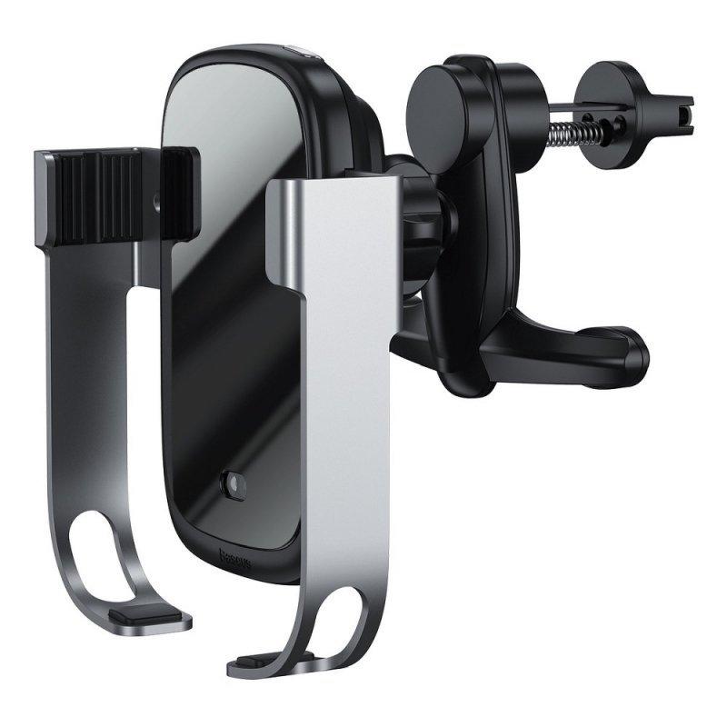 BASEUS uchwyt z ładowaniem indukcyjnym automatyczny do kratki / szyby / deski + ładowarka samochodowa ROCK-SOLID 15W srebrny WXH
