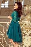 210-8 NICOLLE - sukienka z dłuższym tyłem z koronkowym dekoltem - BUTELKOWA ZIELEŃ