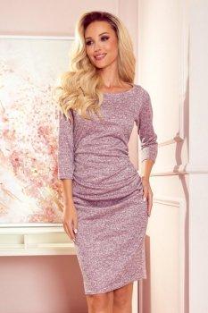 59-11 Sweterkowa sukienka - BRUDNY RÓŻ MELANŻ