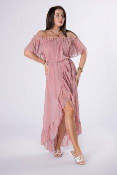 sukienka maxi z hiszpańskim dekoltem