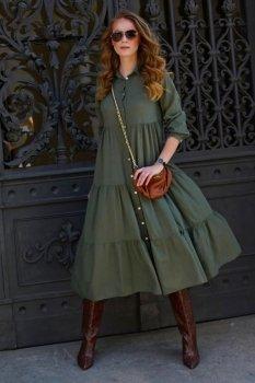 Sukienka koszulowa maxi z guzikami khaki L18
