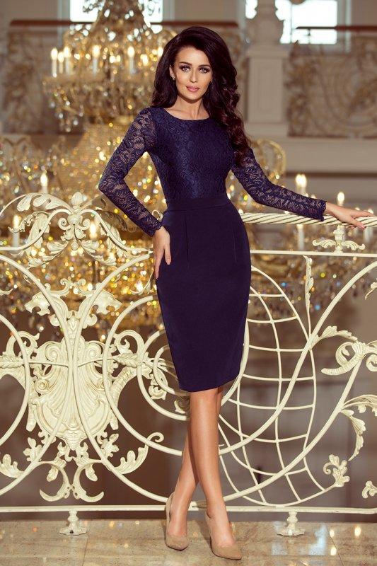 216-1 EMMA elegancka ołówkowa sukienka z koronką - GRANATOWA
