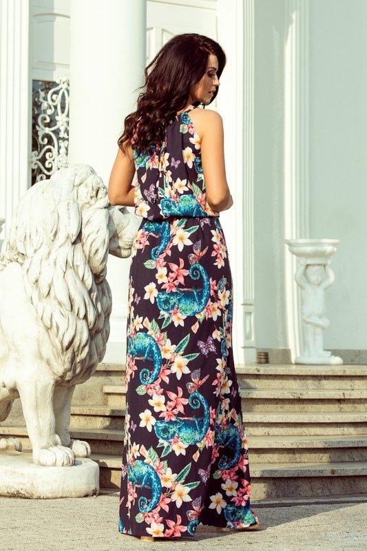 191-3 Sukienka MAXI wiązana na szyi z rozcięciem - KAMELEONY z kwiatami