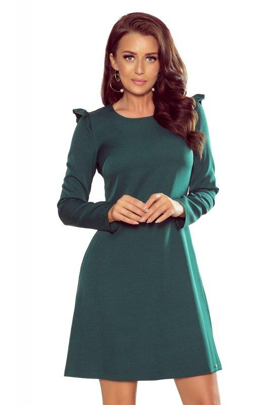 264-1 NELL Trapezowa sukienka z falbankami - ZIELONA