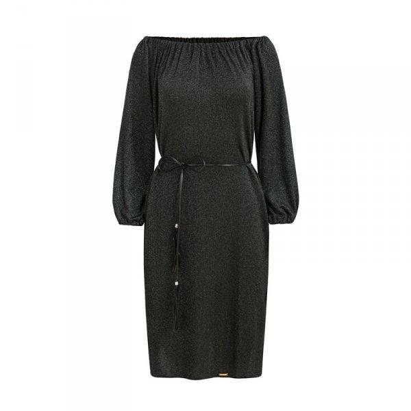 270-2 DINA Sukienka z paskiem - CZARNA