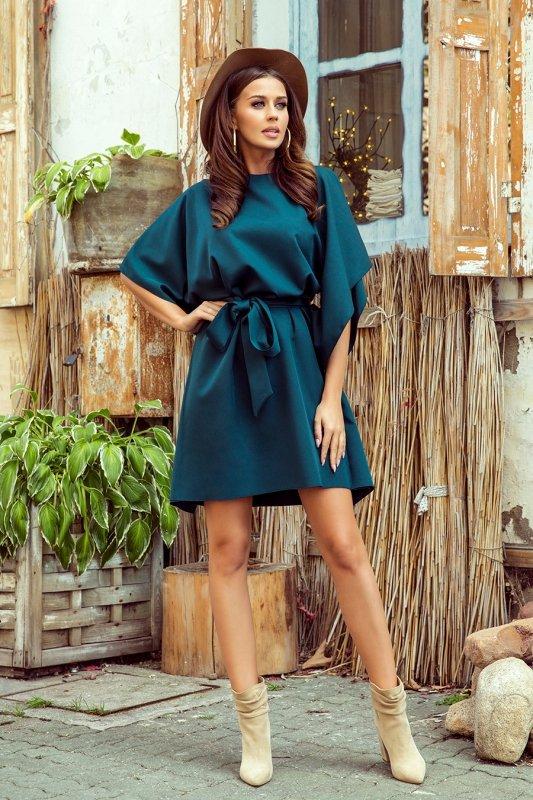 287-2 SOFIA Sukienka motyl - ZIELEŃ BUTELKOWA