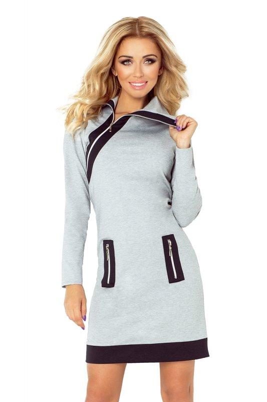 129-1 JUSTYNA sukienka z trzema zamkami - SZARA + czarne zamki