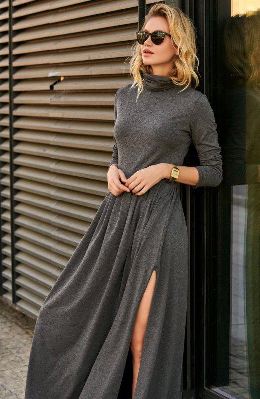 Długa sukienka grafitowa z golfem M503