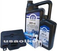 Filtr oraz olej MOPAR ATF+4 skrzyni biegów 6-SPD 62TE Chrysler Voyager Town Country FWD 2008-