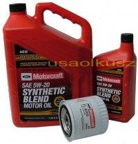 Oryginalny filtr oraz olej silnikowy Motorcraft 5W20 Ford Mustang 4,6