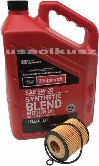 Wkład filtra oraz olej silnika Motorcraft 5W20 Mazda 6 2,5 16V