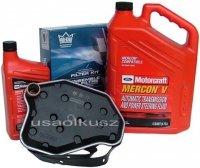 Filtr oleju oraz syntetyczny olej Motorcraft MERCON V automatycznej skrzyni biegów Lincoln Mark VIII