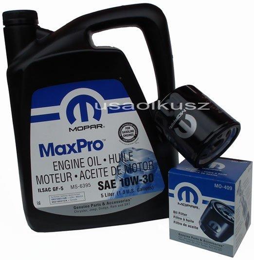 Oryginalny filtr oleju oraz olej MOPAR 10W30 Plymouth Breeze
